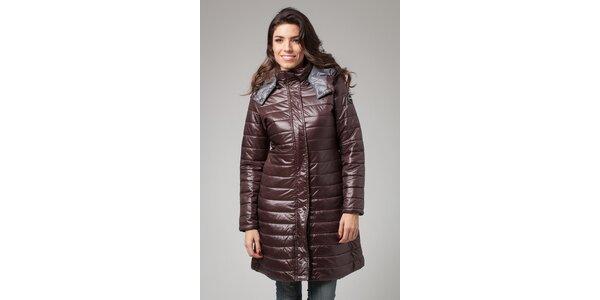 Dámský tmavě hnědý zimní prošívaný kabát More Down Eight