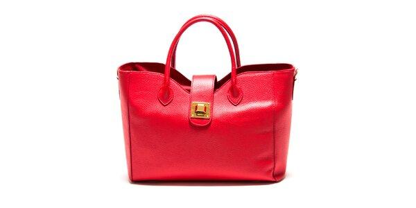 Dámská červená hranatá kabelka se zámečkem Roberta Minelli