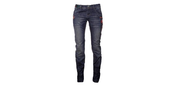 Dámské modré džíny s kresbami Desigual