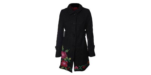 Dámský černý kabát s květinami Desigual