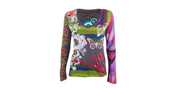 Dámské barevné tričko s motýlky Desigual