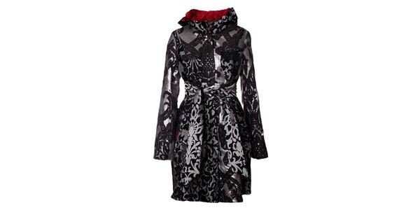 Dámský šedo-černě vzorovaný kabát Desigual