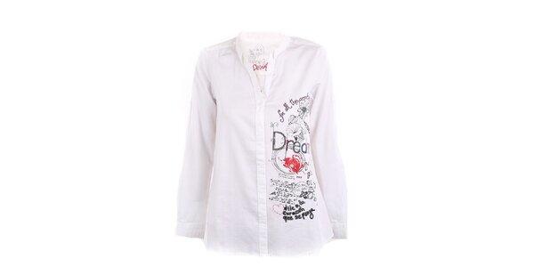Dámská bílá košile s aplikacemi Desigual