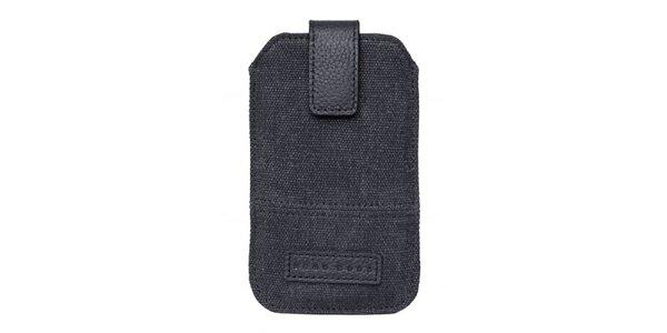 Tmavě šedé textilní pouzdro Hugo Boss na mobilní telefon