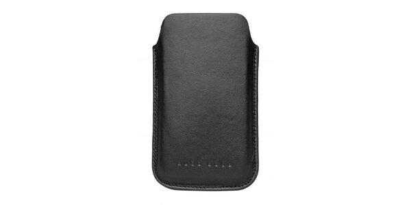 Černé kožené pouzdro Hugo Boss na mobilní telefon