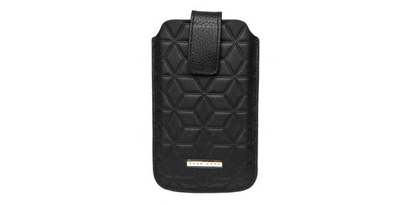 Černé pouzdro Hugo Boss na mobilní telefon se vzorkem