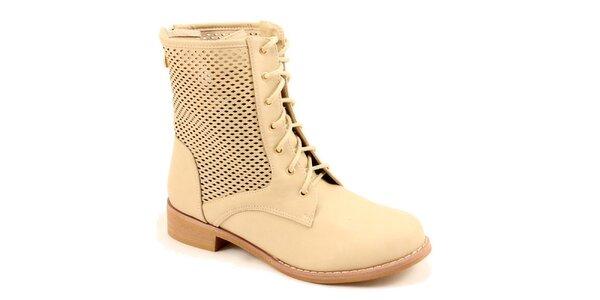 Dámské béžové kotníkové perforované boty Bless
