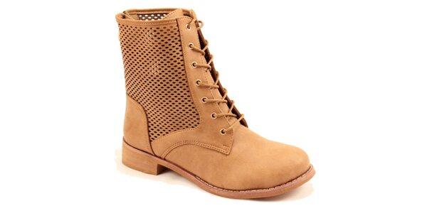 Dámské hnědé kotníkové perforované boty Bless