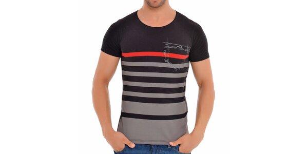Pánské šedo-černé pruhované tričko Wessi