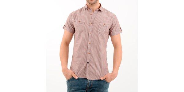 Pánská hnědo-bílá pruhovaná košile Wessi