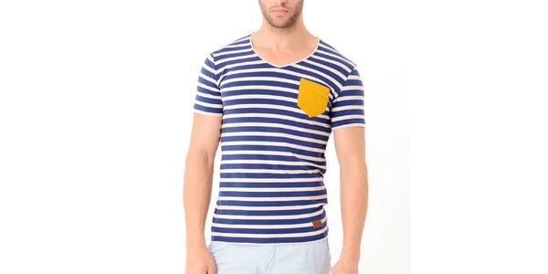 Pánské modro-béžové pruhované tričko se žlutou kapsou Wessi