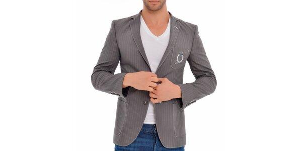 Pánské šedé sako s proužky Wessi