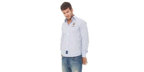 Pánská modrá kostičkovaná košile Valecuatro s výšivkou