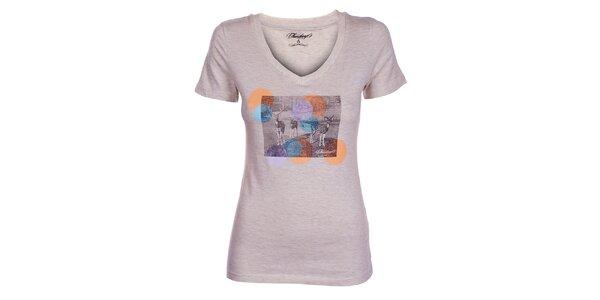 Dámské krémové tričko Fundango s potiskem