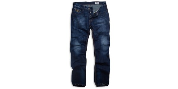 Pánské tmavě modré džíny Paul Stragas s vyšisovanými koleny