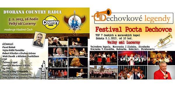 Festivaly folku a country nebo dechovky v Lucerně