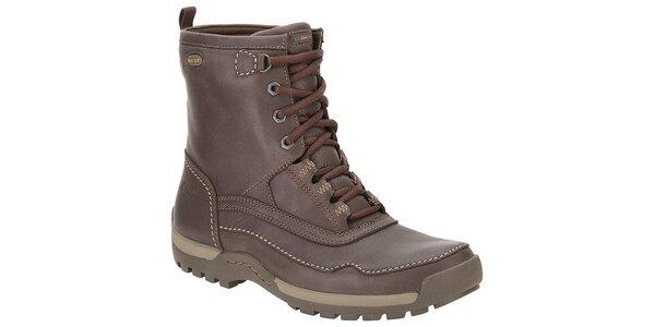 Pánské tmavě hnědé vysoké kožené boty Clarks s GTX membránou