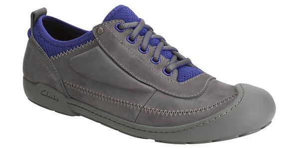 Pánské tmavě šedé tenisky Clarks s modrými detaily