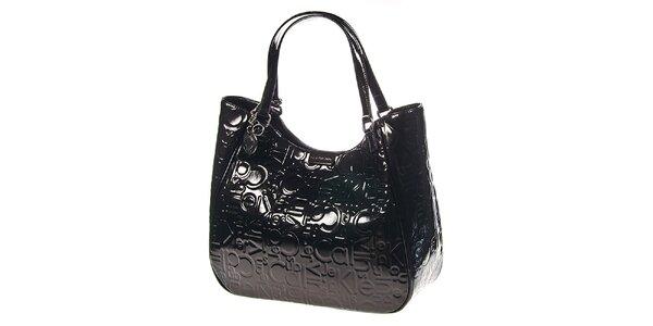 Dámská tmavá kabelka v lesklém provedení Calvin Klein