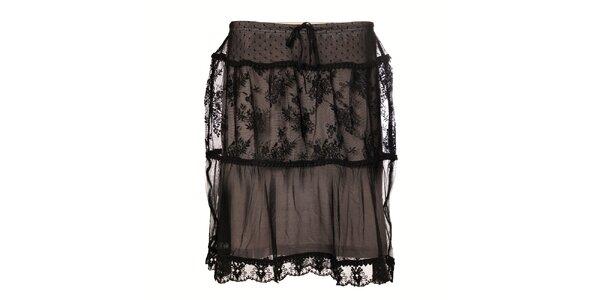 Dámská černá krajková sukně Vive Maria s květinovým vzorem