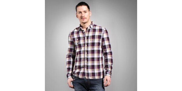 Pánská fialovo-hnědá kostkovaná košile Diesel