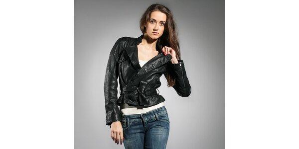 Dámská černá kožená bunda Diesel