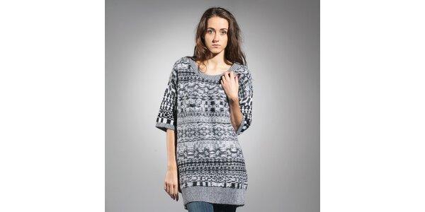 Dámský šedo-bílý vlněný svetr Diesel