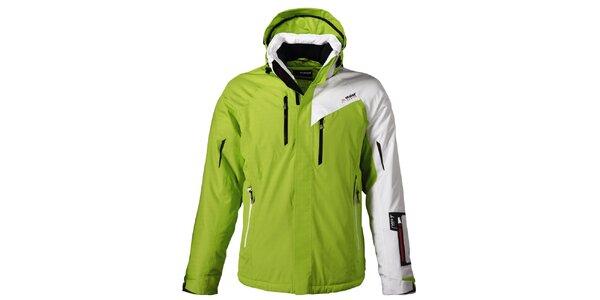 Pánská zelená lyžařská bunda s bílým rukávem Maier