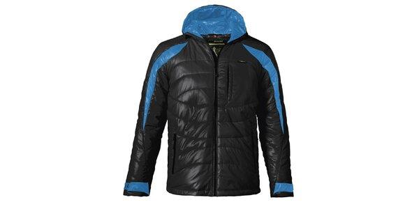 Pánská černá prošívaná zimní bunda s modrými detaily Maier