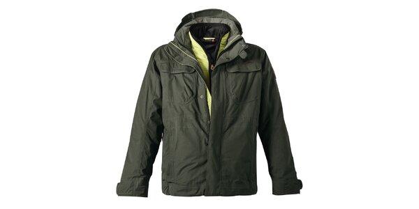 Pánská khaki bunda s dvojitým zapínáním Maier