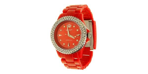 Dámské červené hodinky Jet Set s kamínky