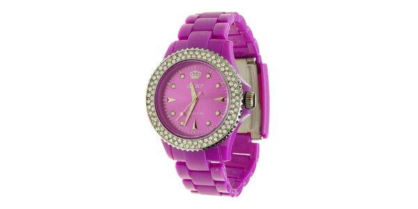 Dámské fialové hodinky Jet Set s kamínky