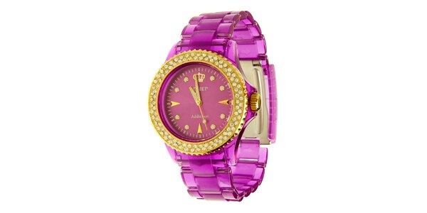 Dámské fialové hodinky Jet Set se zlatými detaily a kamínky