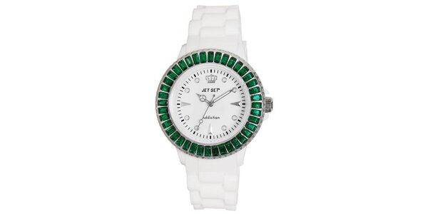 Bílé sportovní hodinky se zeleně orámovaným ciferníkem Jet Set