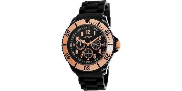 Černé plastové hodinky s bronzově lemovaným ciferníkem Jet Set