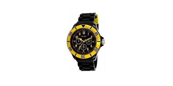 Černé plastové hodinky se žlutě lemovaným ciferníkem Jet Set