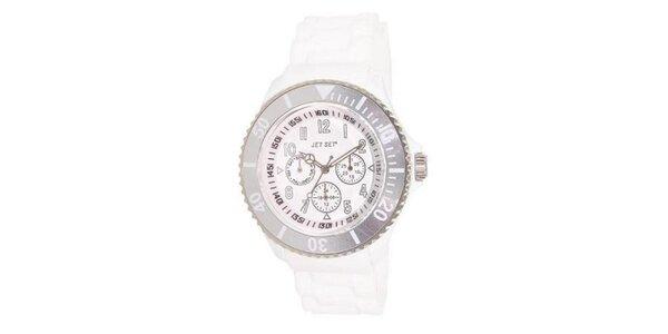 Bílé plastové hodinky s kulatým ciferníkem Jet Set