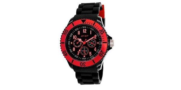 Černé plastové hodinky s červeně lemovaným ciferníkem Jet Set