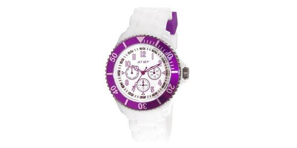 Bílé plastové hodinky s fialově lemovaným ciferníkem Jet Set