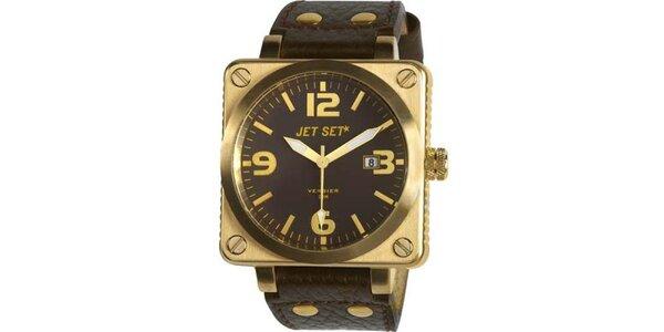 Zlaté ocelové hodinky Jet Set s černým koženým řemínkem