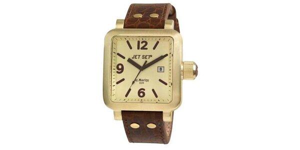 Hnědo-zlaté hranaté analogové hodinky Jet Set