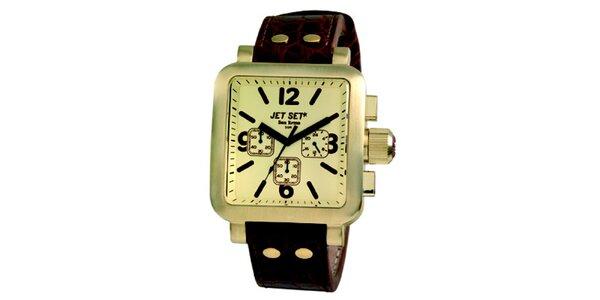 Pánské ocelové hodinky Jet Set se zlatě zabarveným hranatým ciferníkem
