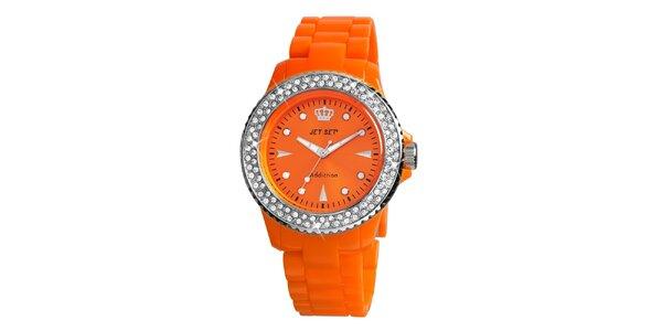 Dámské oranžové hodinky s kamínky Jet Set