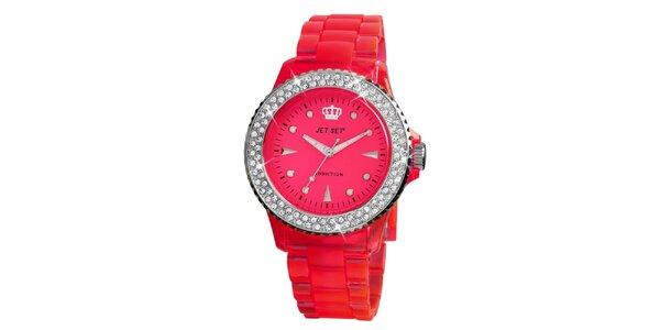Dámské výrazné hodinky s kamínky Jet Set