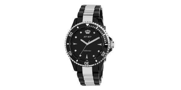 Analogové hodinky s černým ciferníkem Jet Set