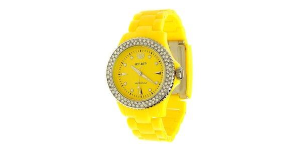 Dámské citronově žluté hodinky Jet Set s kamínky