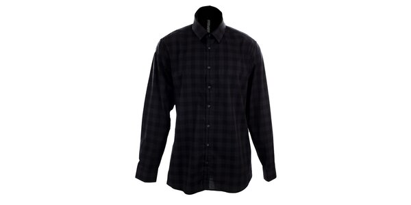 Pánská šedo-černá kostkovaná košile Pietro Filipi