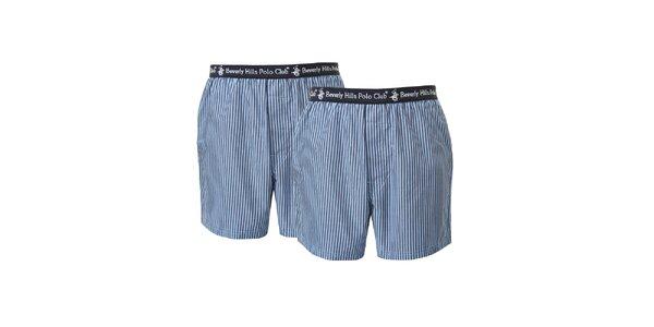 Set dvou pánských modře pruhovaných trenýrek Beverly Hills Polo Club