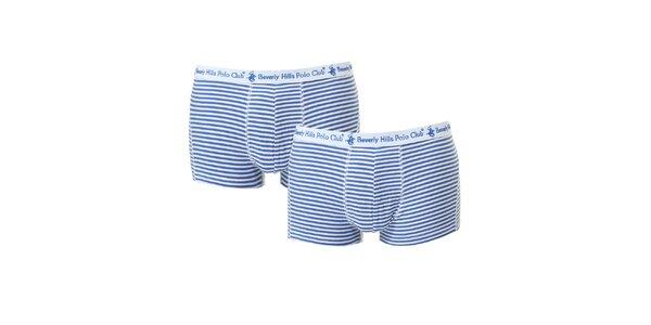 Set dvou pánských modro-bílých pruhovaných boxerek Beverly Hills Polo Club
