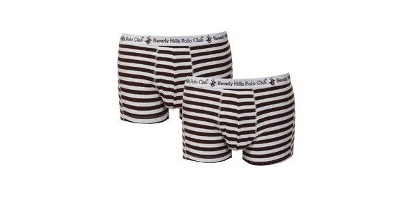 Set dvou pánských hnědo-bílých pruhovaných boxerek Beverly Hills Polo Club
